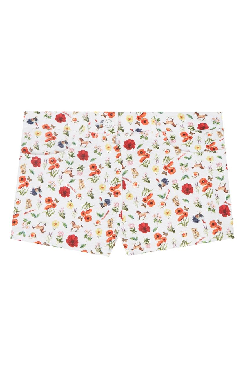 Купить Белые шорты с цветочным принтом от Monnalisa цвет multicolor