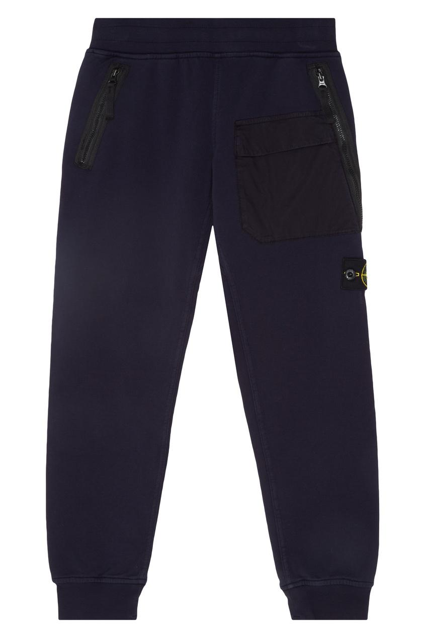 Купить Синие хлопковые брюки от Stone Island Kids синего цвета