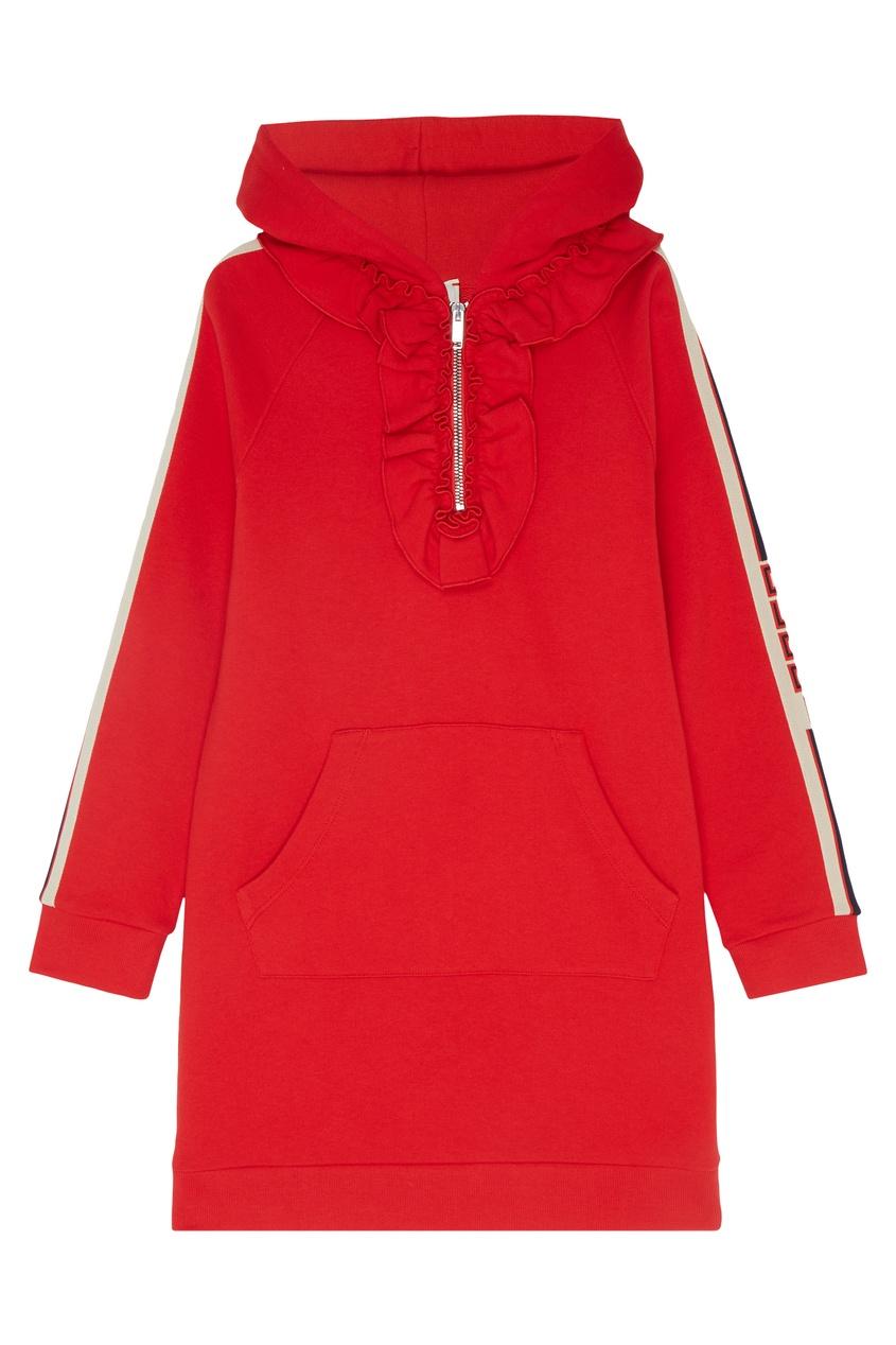 Красное платье-толстовка с отделкой Gucci Kids