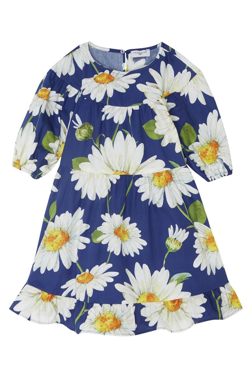 Купить Синее платье с ромашками от Monnalisa синего цвета