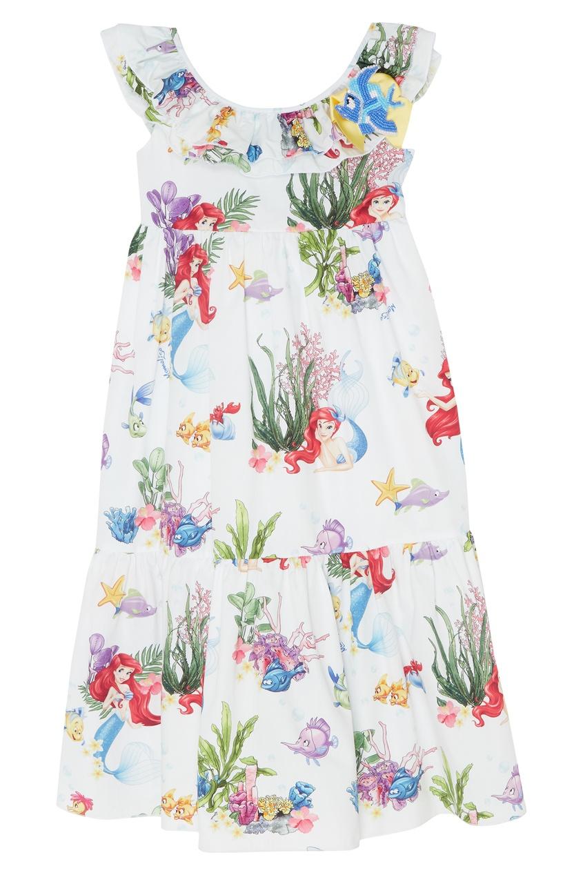 Купить Белое хлопковое платье с принтом от Monnalisa цвет multicolor
