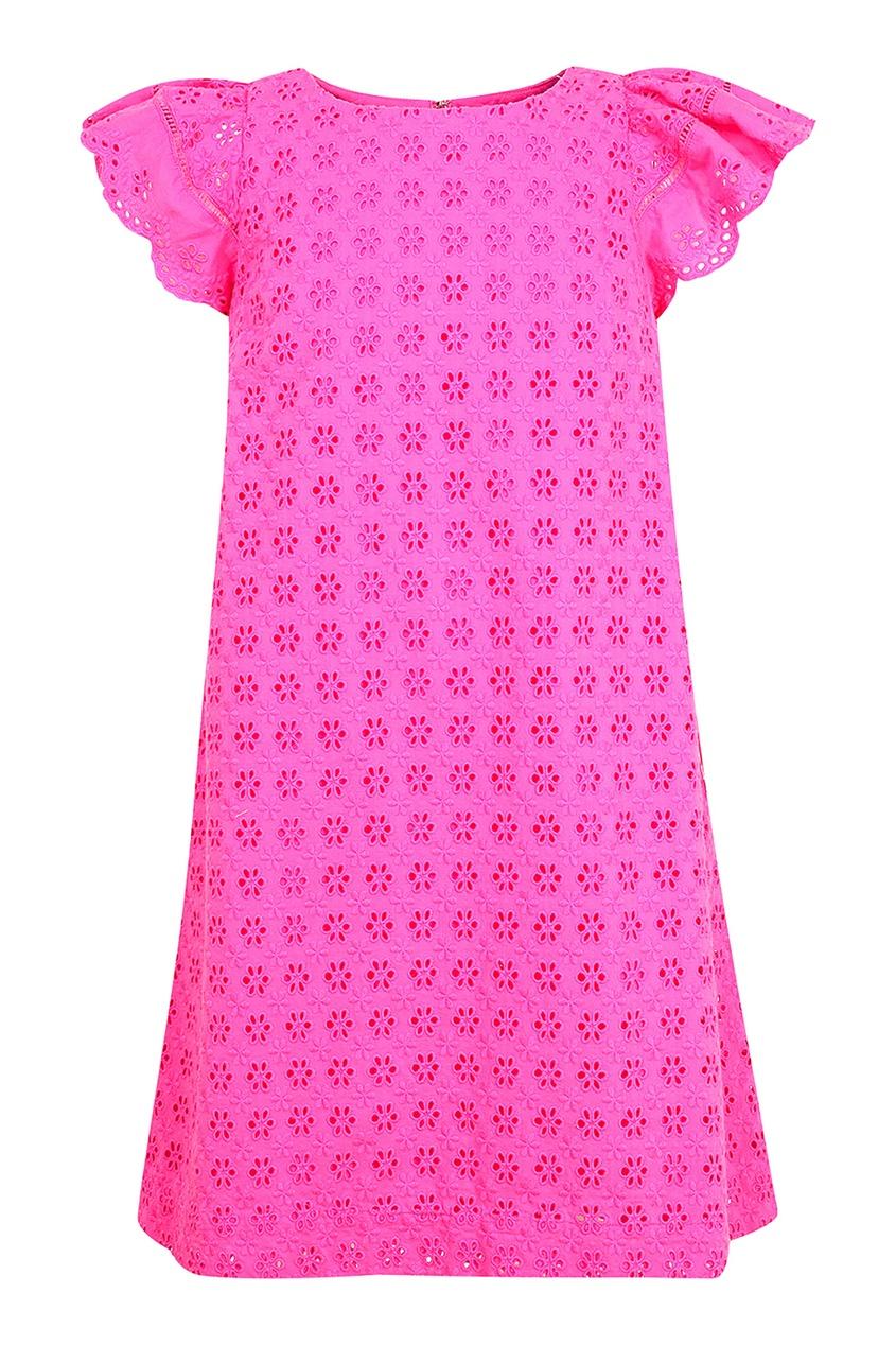 Купить Розовое платье с ажурной отделкой от Polo Ralph Lauren Kids розового цвета