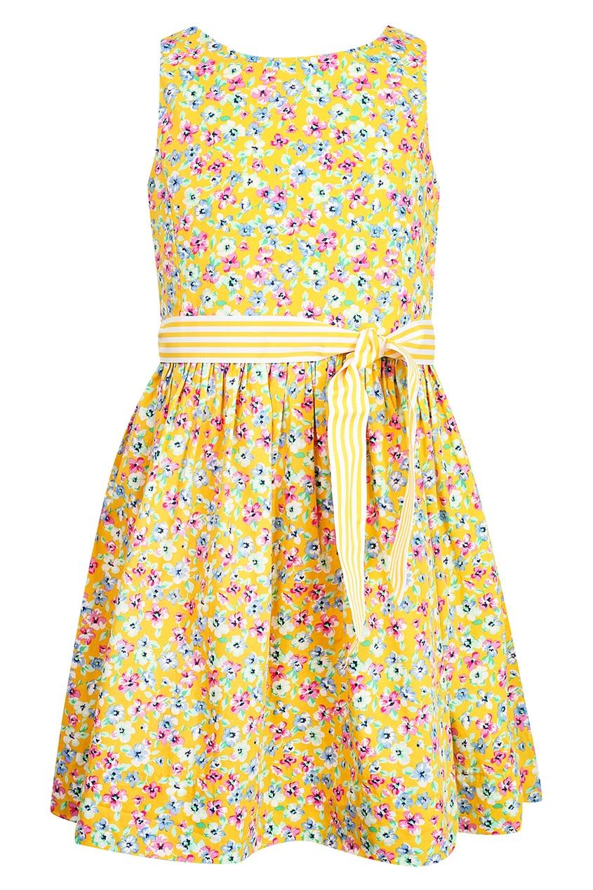 Купить Желтое платье с цветочным принтом от Polo Ralph Lauren Kids желтого цвета