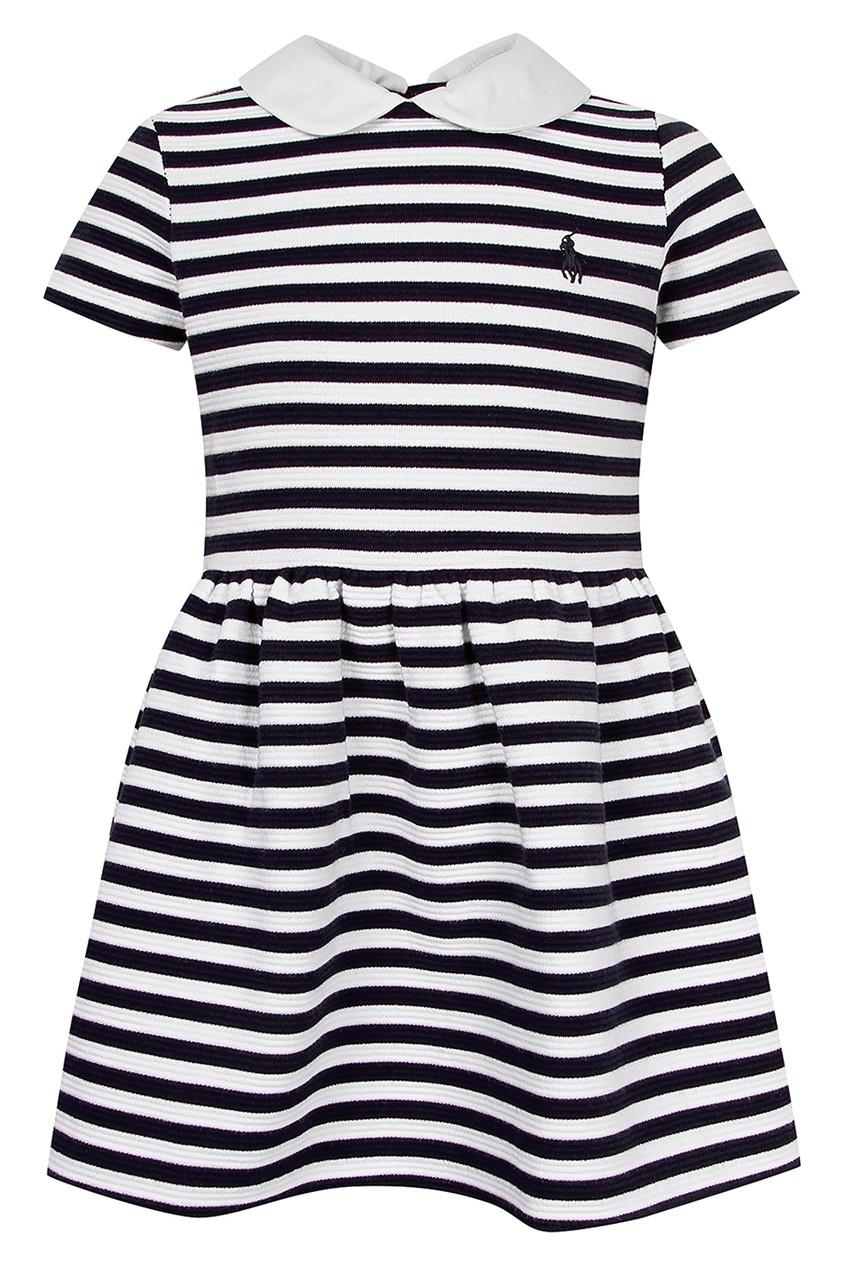Купить Платье в черно-белую полоску от Polo Ralph Lauren Kids цвет multicolor
