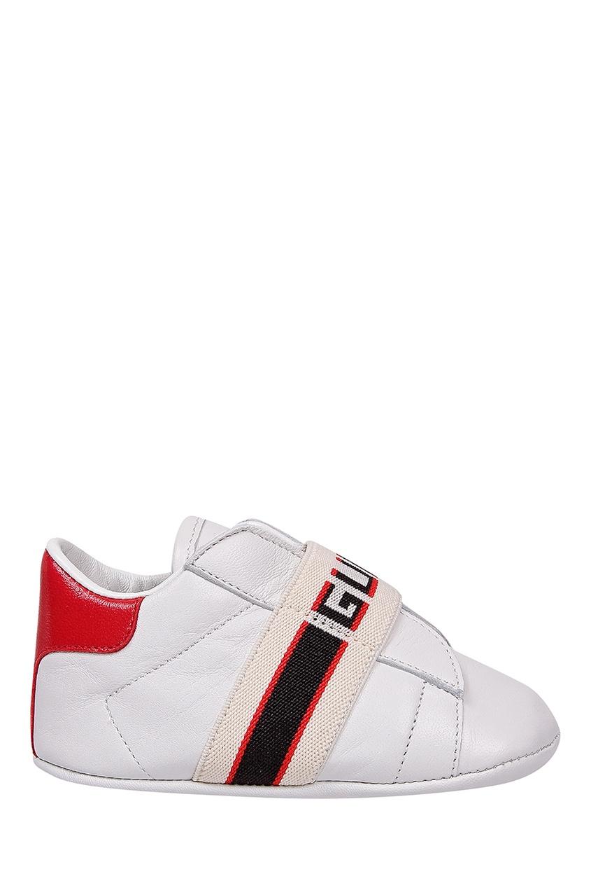 Белые кроссовки с отделкой от Gucci Kids