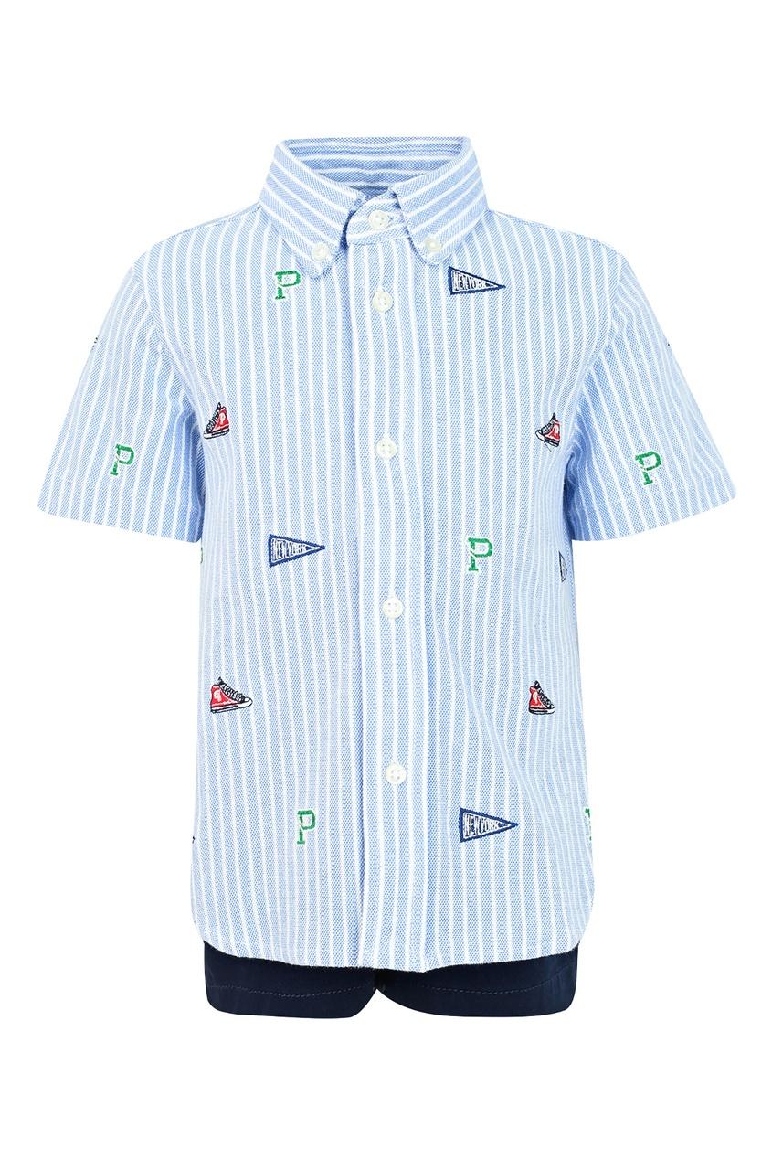 Купить Комплект из рубашки и шорт от Ralph Lauren Kids синего цвета