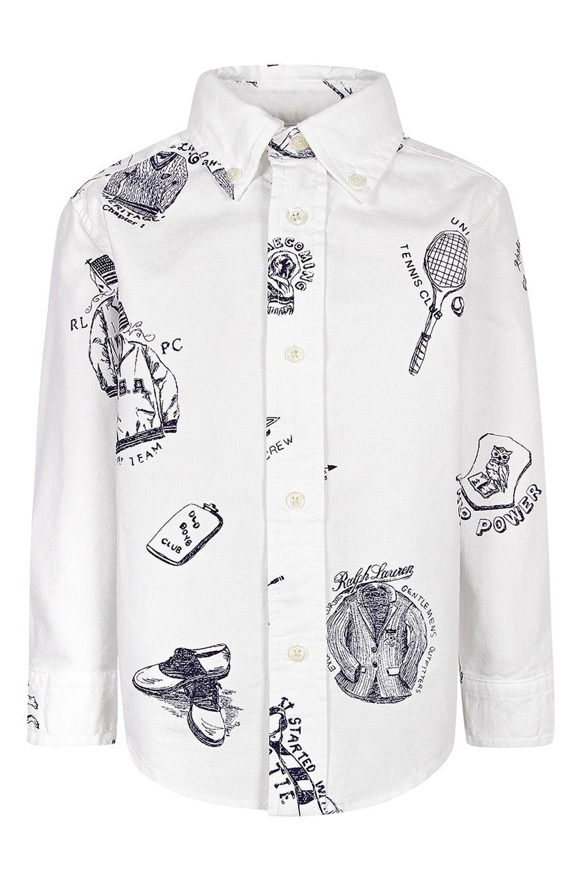 Купить Белая рубашка с принтом от Polo Ralph Lauren Kids белого цвета