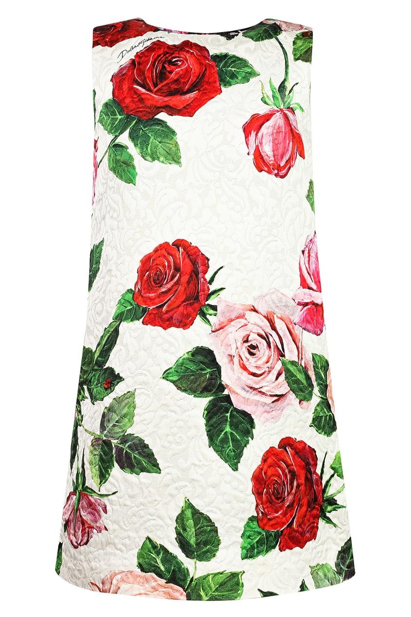 Белое платье с цветочным принтом