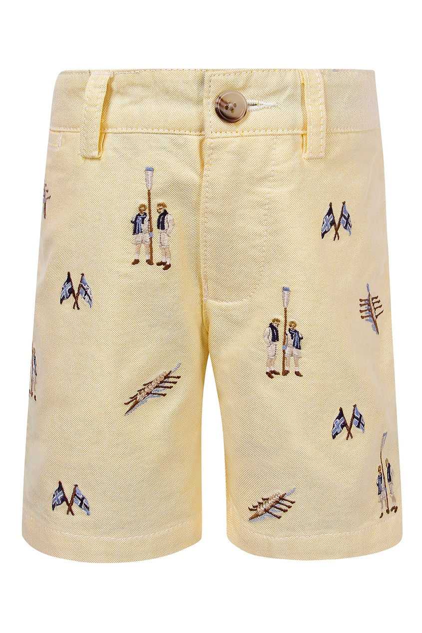 Купить Бермуды с вышивкой от Polo Ralph Lauren Kids желтого цвета