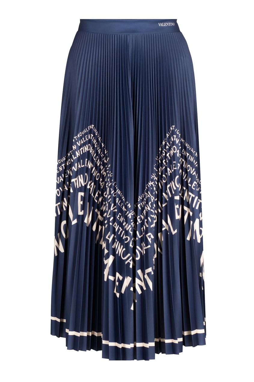 Купить Синяя плиссированная юбка с принтом от Valentino синего цвета