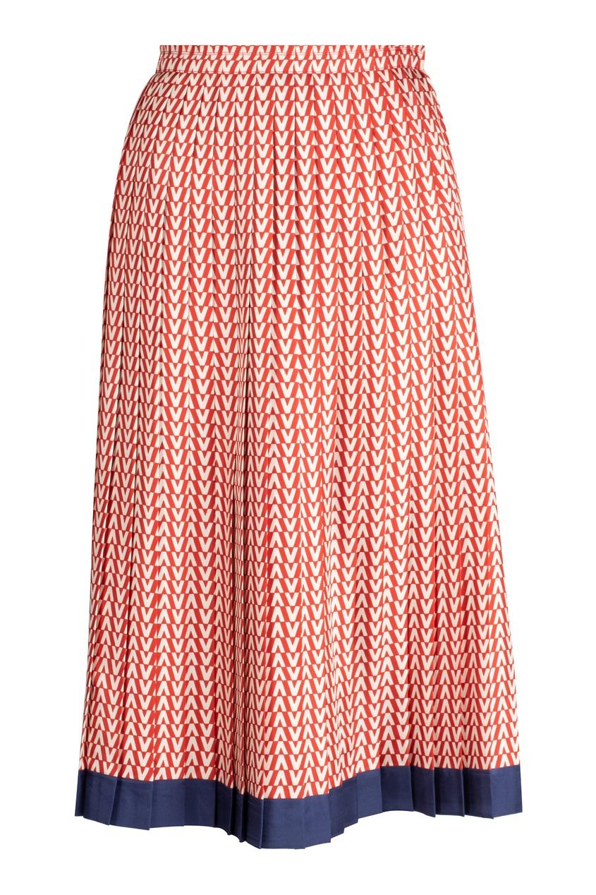 Шелковая юбка с контрастным узором VALENTINO