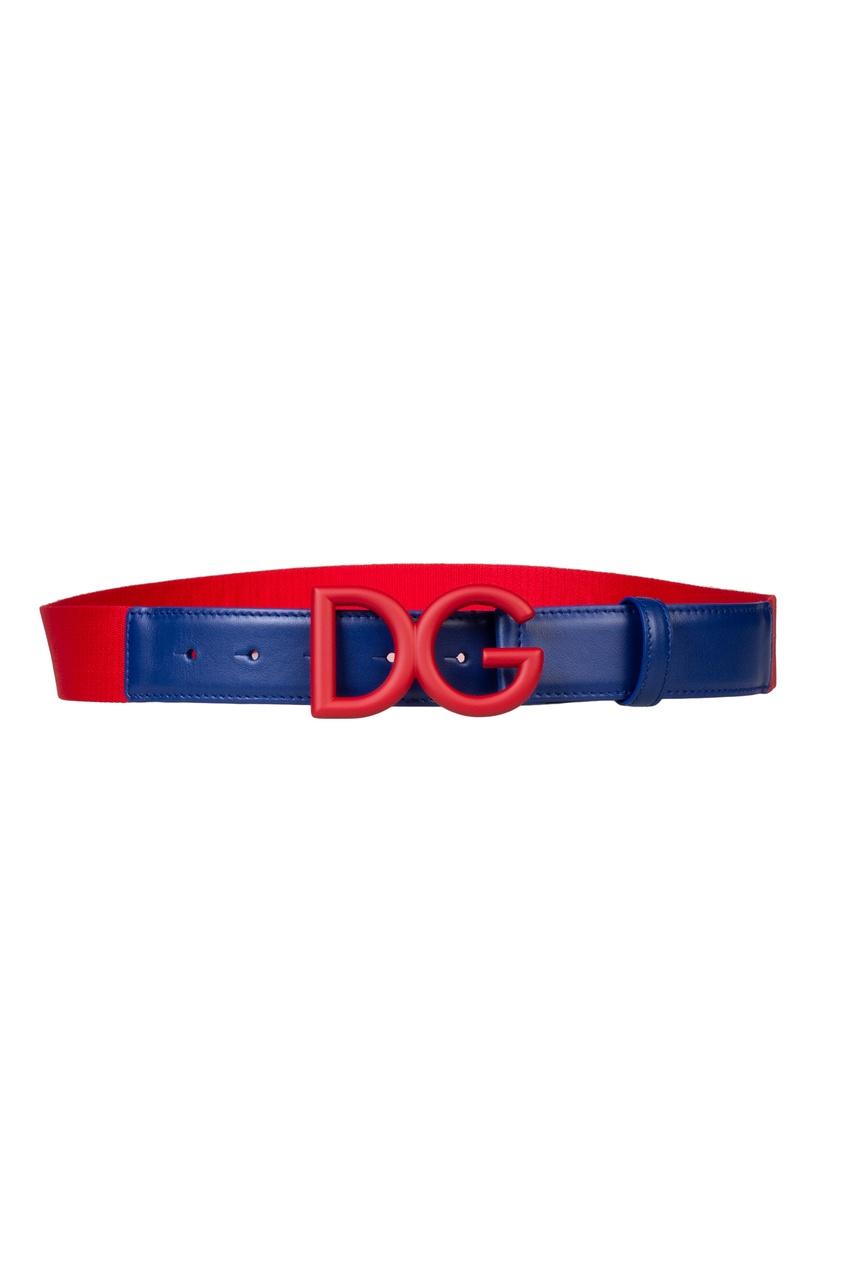 Комбинированный красно-синий ремень Dolce&Gabbana