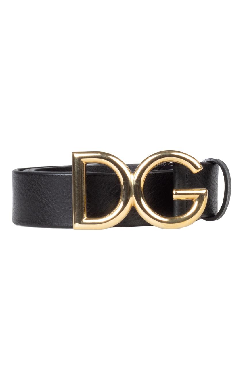 Черный кожаный ремень с пряжкой Dolce&Gabbana