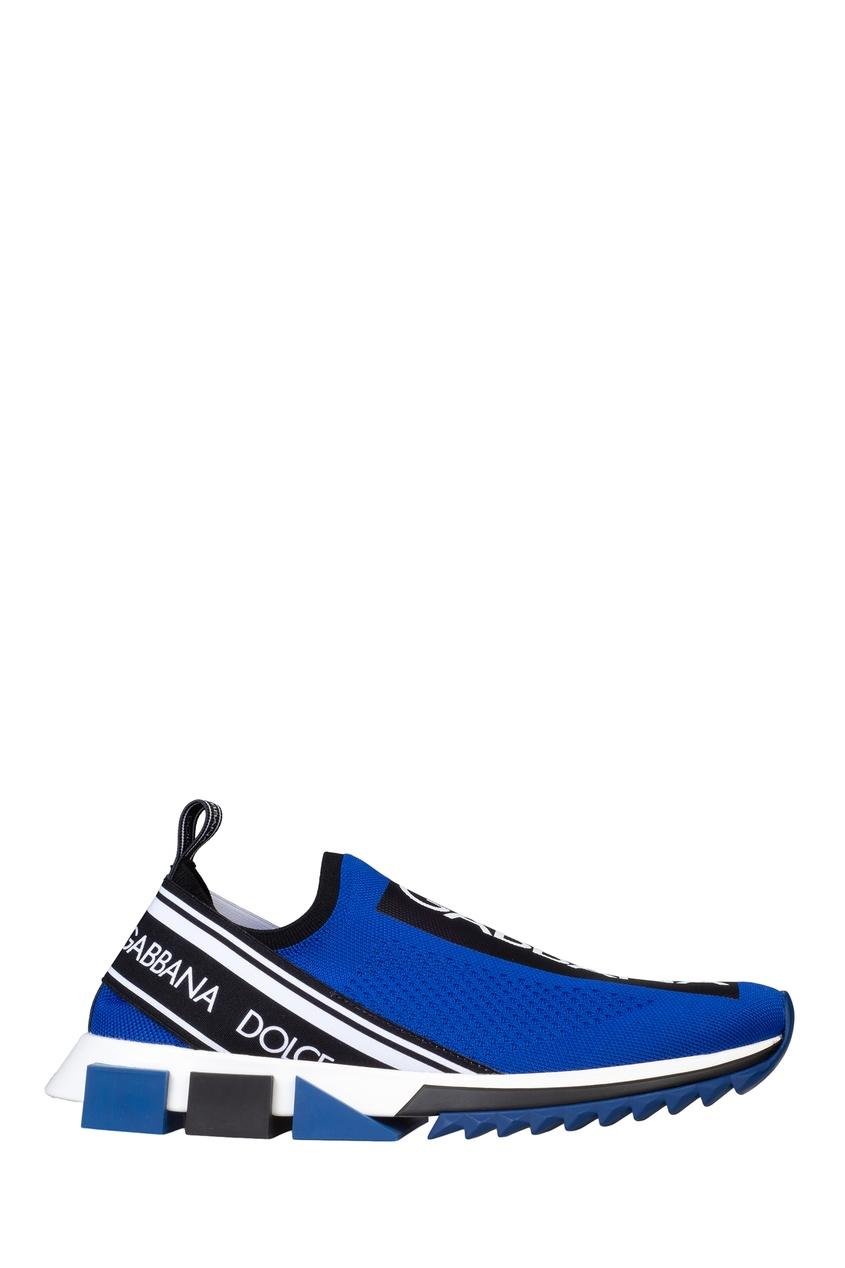 Синие кроссовки с эластичным верхом
