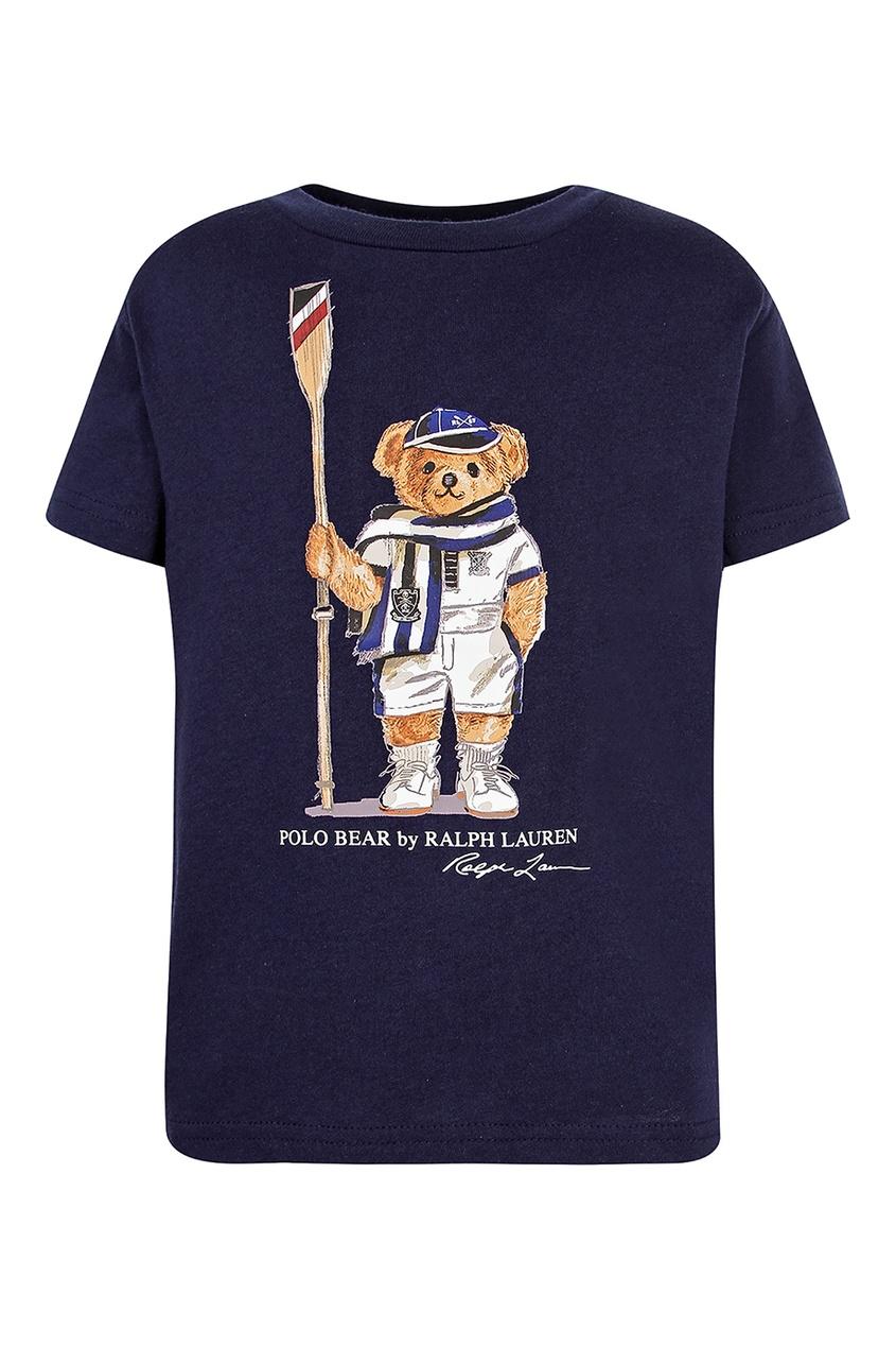 Купить Темно-синяя футболка с принтом от Polo Ralph Lauren Kids синего цвета