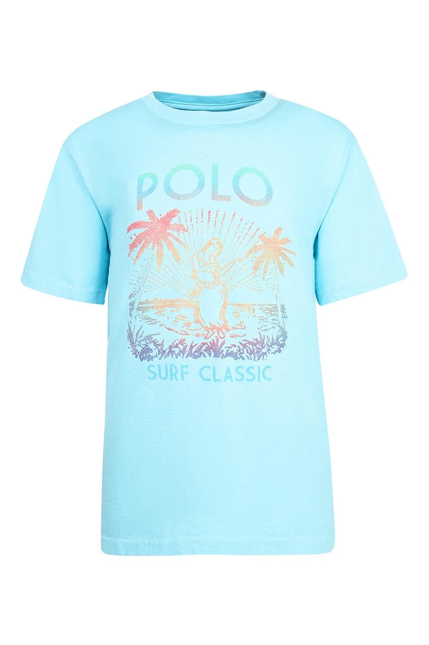 Купить Голубая футболка с тропическим принтом от Polo Ralph Lauren Kids голубого цвета