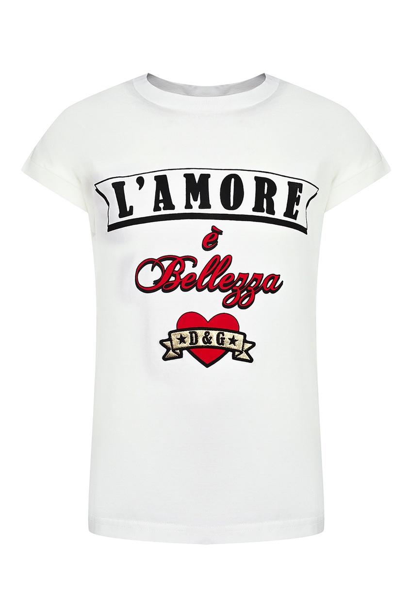 Купить Белая футболка с цельнокроеными рукавами бежевого цвета