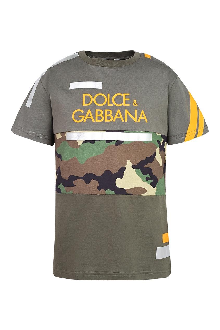 Комбинированная футболка с надписью Dolce&Gabbana Children