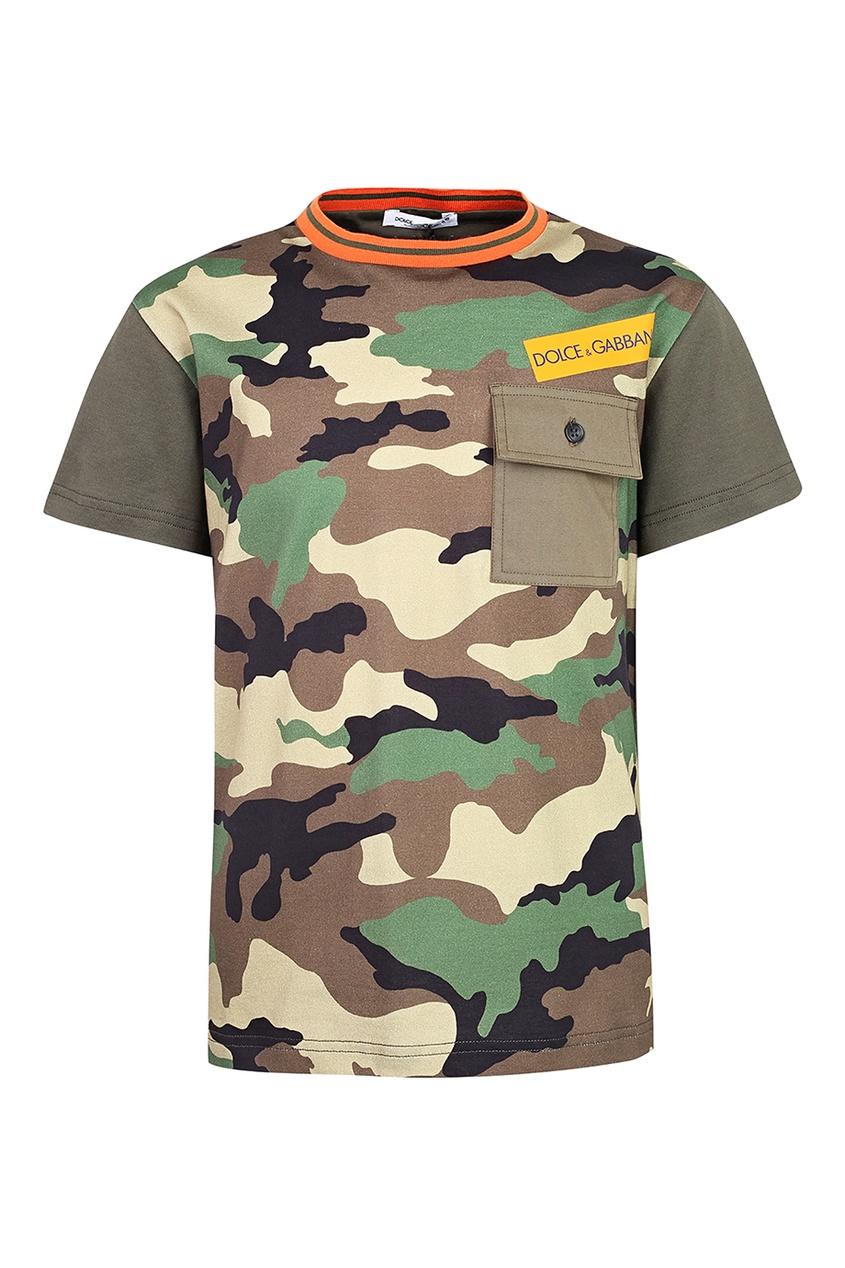Купить Камуфляжная футболка с накладным карманом цвета хаки