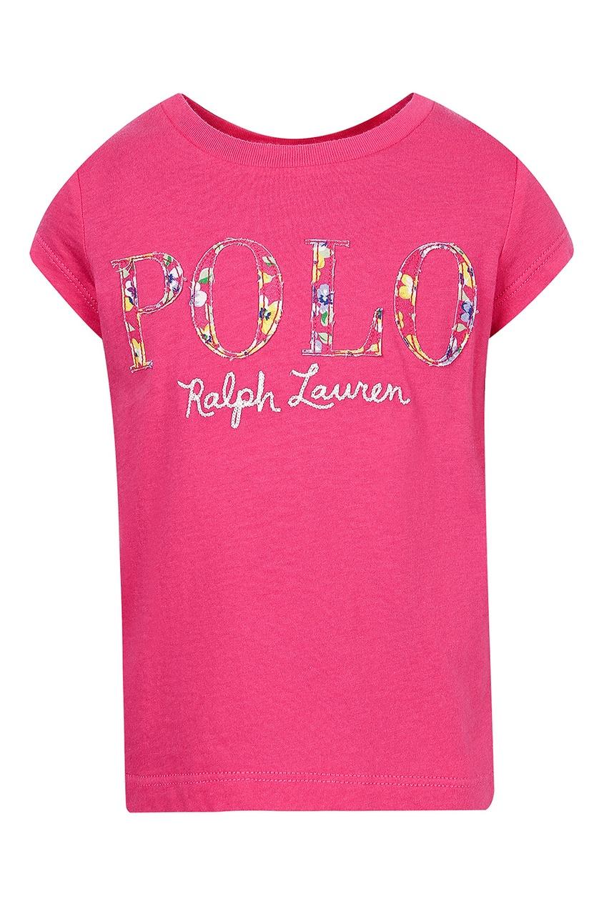 Розовая футболка с нашивками от Polo Ralph Lauren Kids