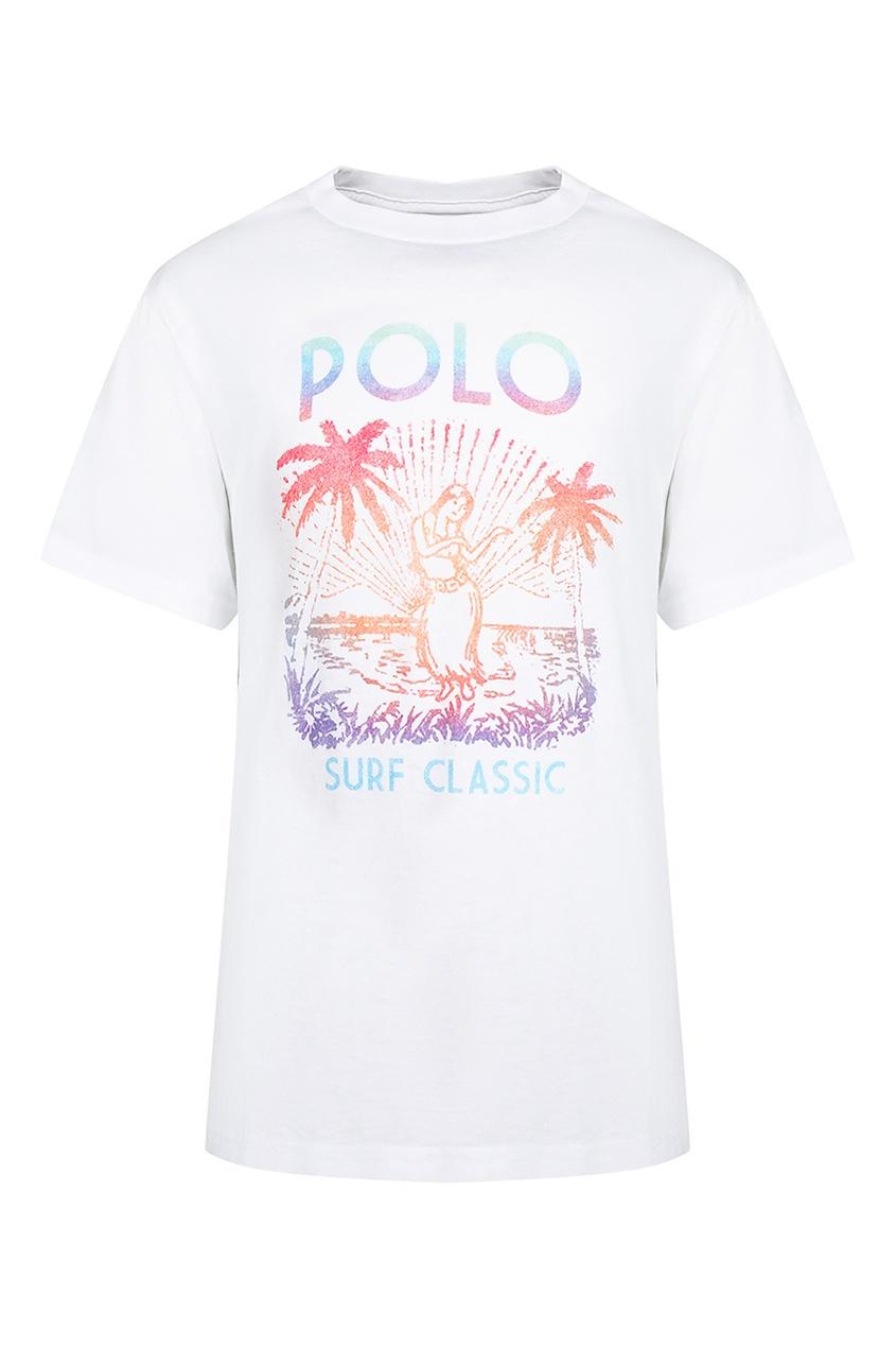Купить Белая футболка с тропическим принтом от Polo Ralph Lauren Kids белого цвета