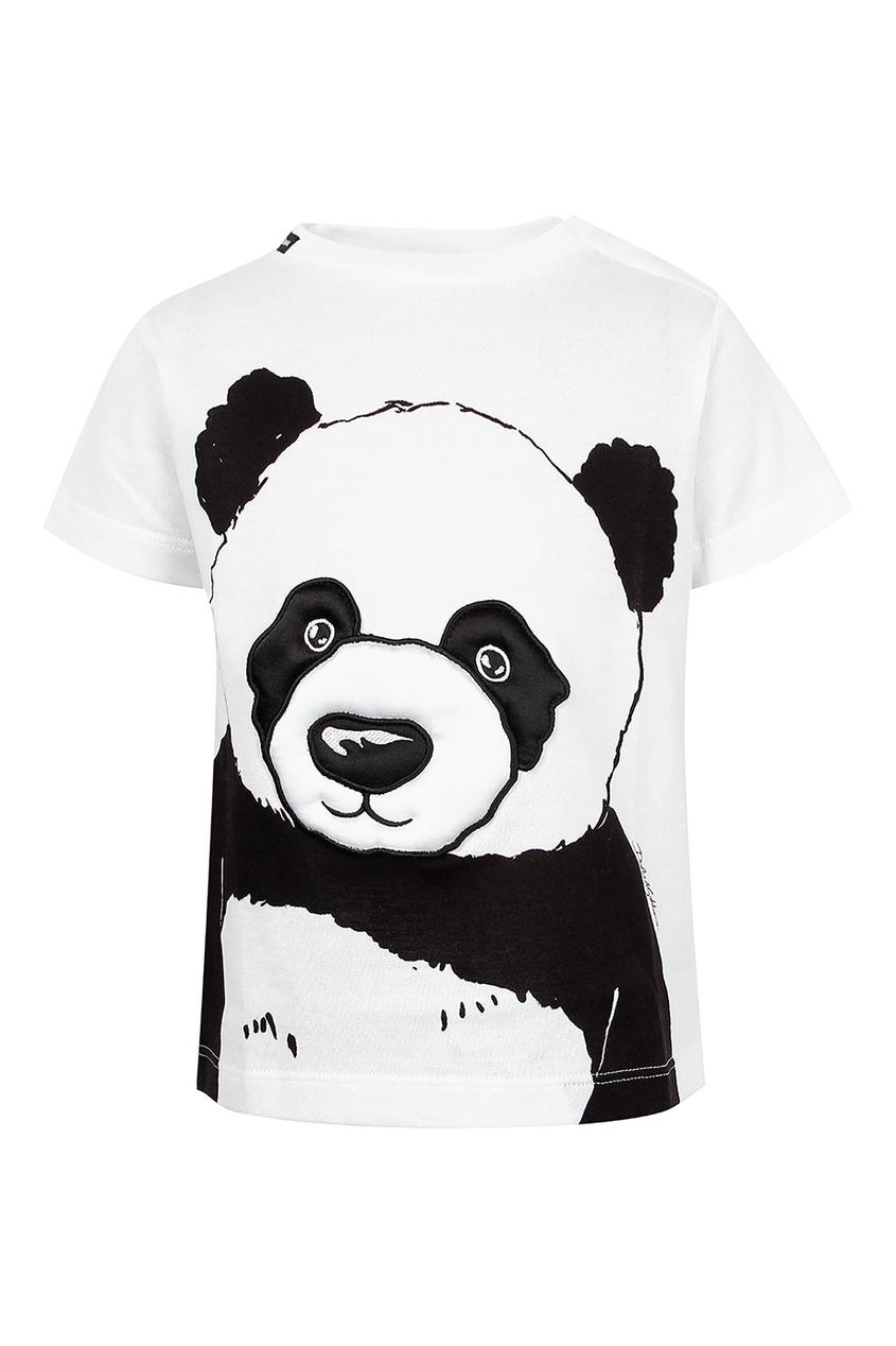 Купить Футболку с изображением панды белого цвета