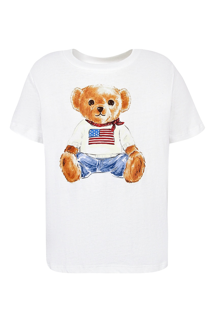 Купить Белая футболка с изображением медведя от Ralph Lauren Kids белого цвета