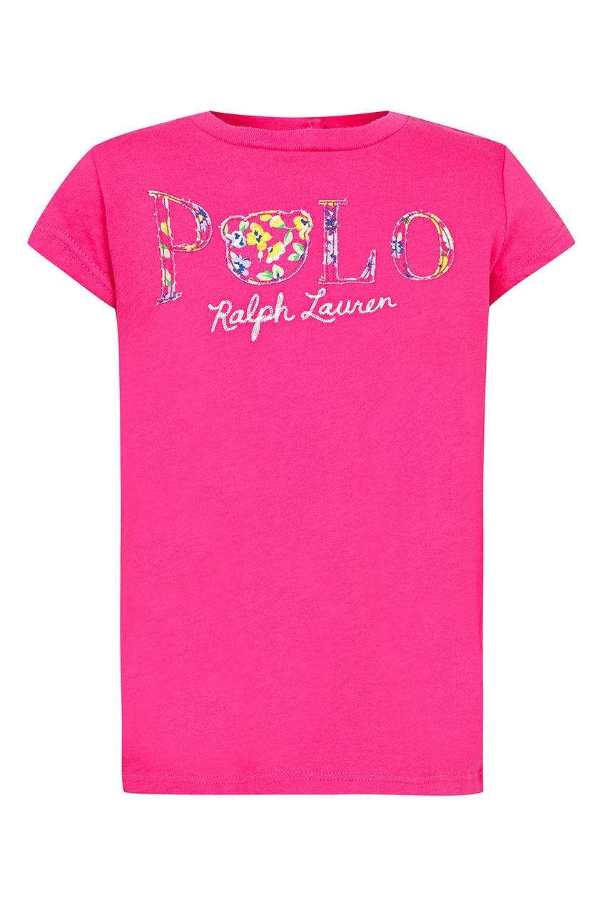 Купить Розовая футболка с нашивкой-логотипом от Ralph Lauren Kids розового цвета