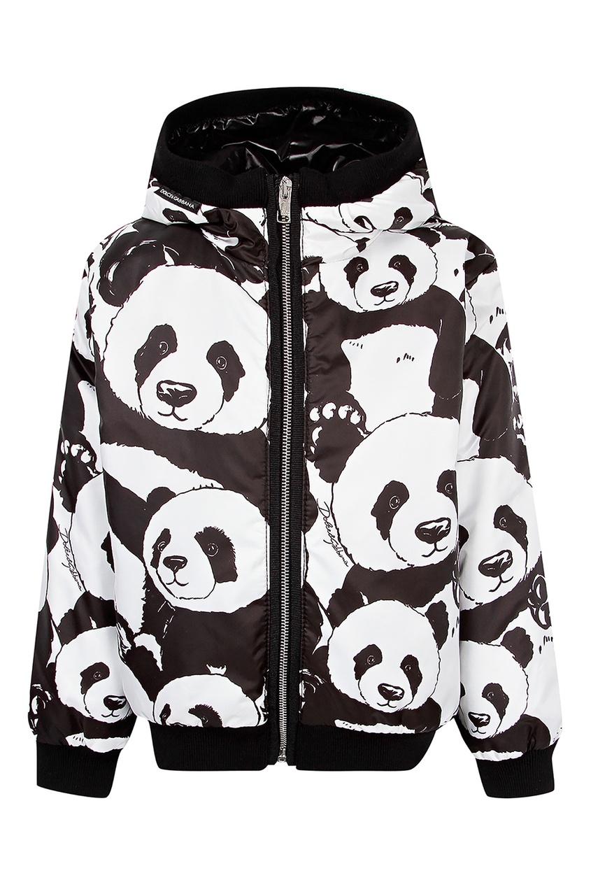 Купить Куртку с капюшоном и сплошным принтом черного цвета