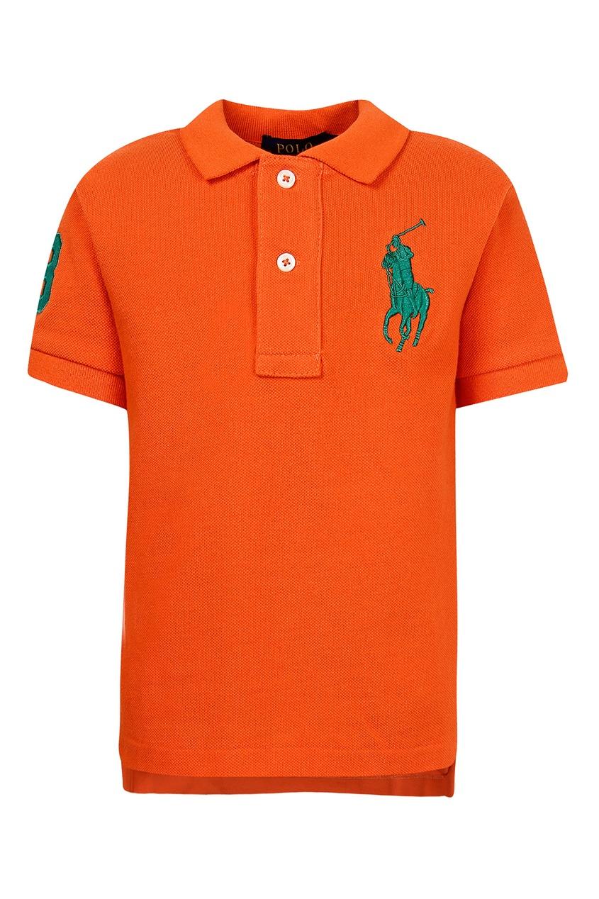 Оранжевое поло с цифрой от Polo Ralph Lauren Kids
