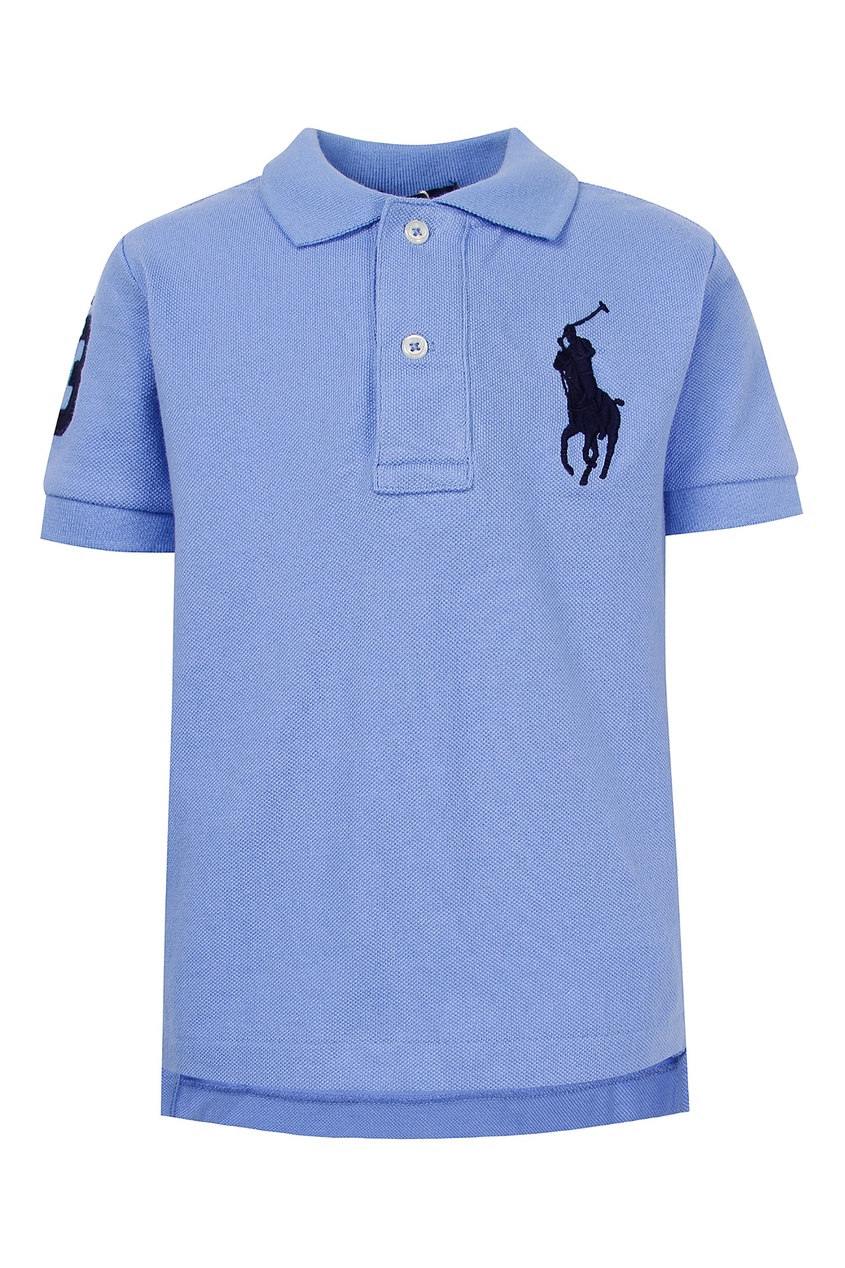 Купить Голубое поло с контрастной вышивкой от Polo Ralph Lauren Kids голубого цвета