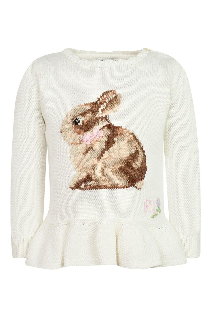 Белый свитер с оборкой от Ralph Lauren Kids