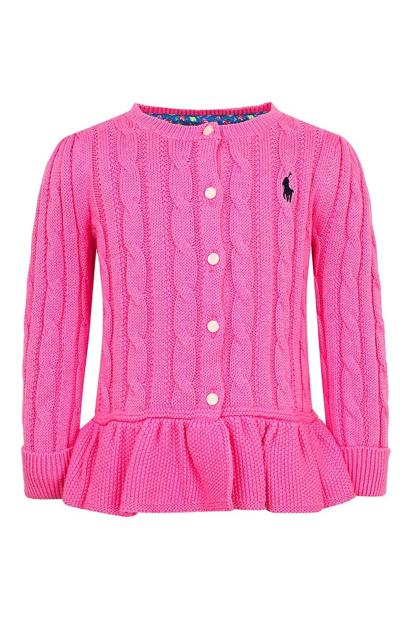 Розовый кардиган с баской от Ralph Lauren Kids