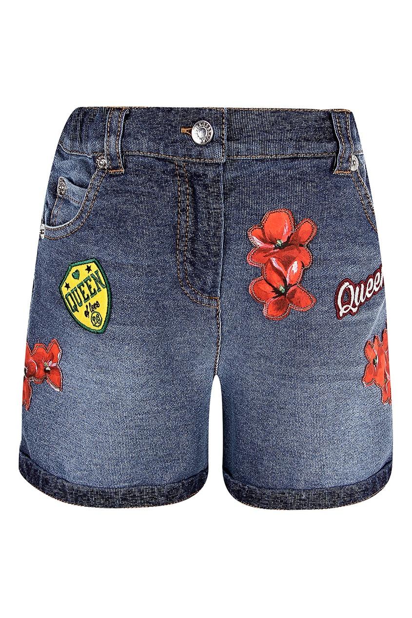 Купить Джинсовые шорты с отделкой синего цвета