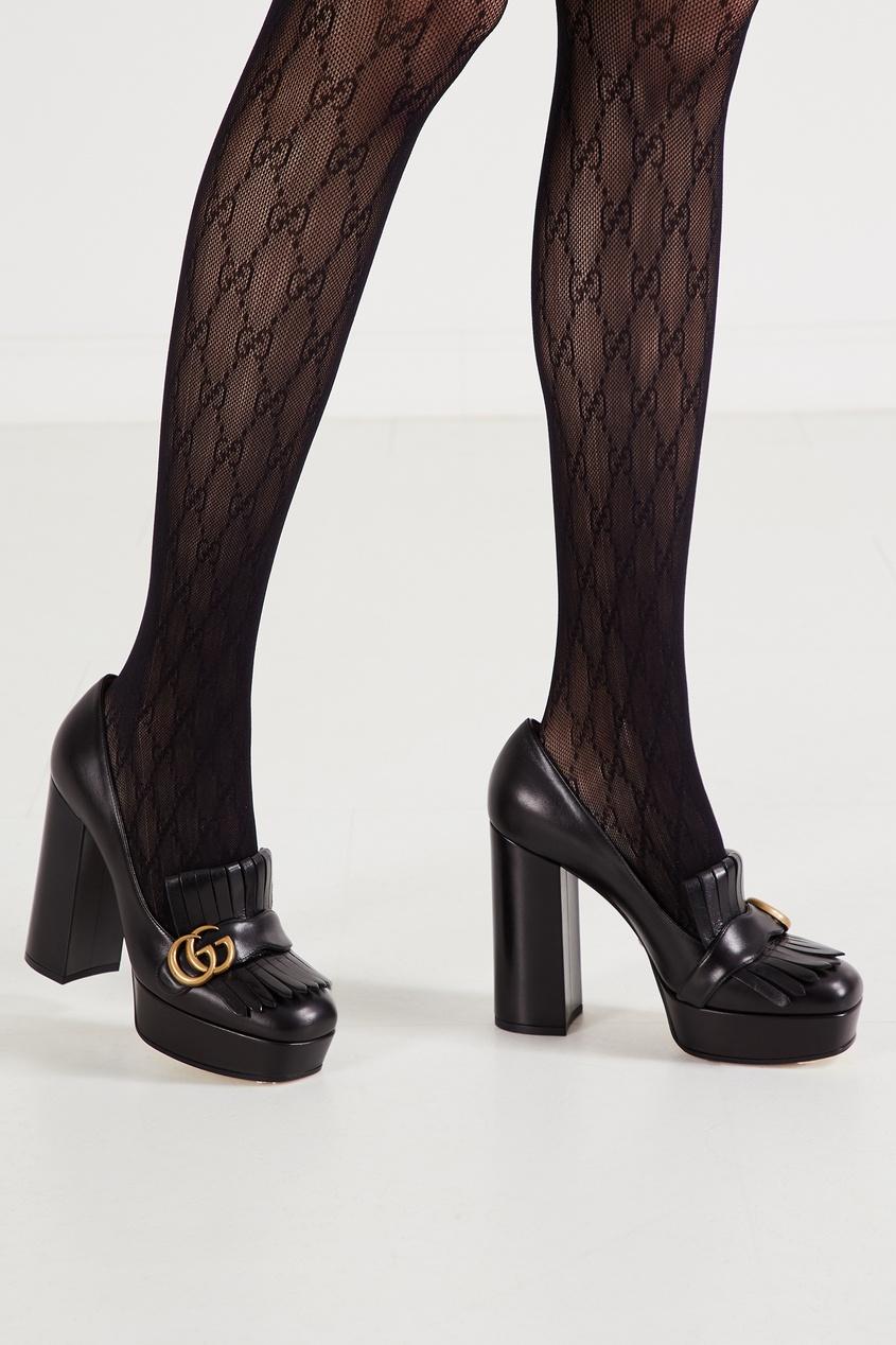 Черные туфли с бахромой и логотипом GG от Gucci