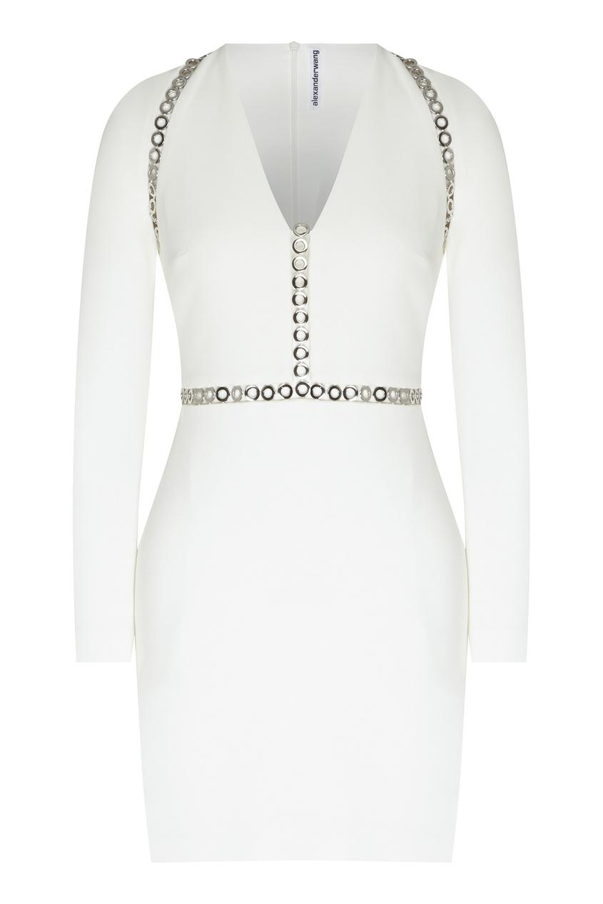 Купить Белое платье с металлическими вставками от Alexander Wang белого цвета