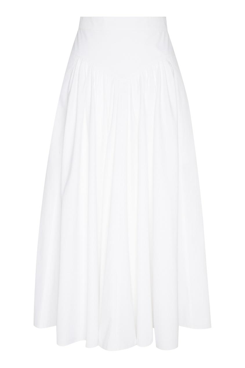 Купить Белая поплиновая юбка миди от Miu Miu белого цвета