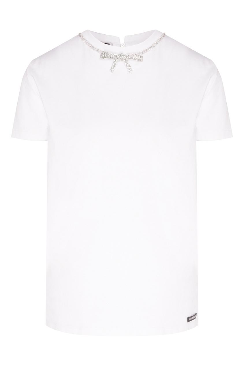 Купить Белая футболка с кристаллами от Miu Miu белого цвета