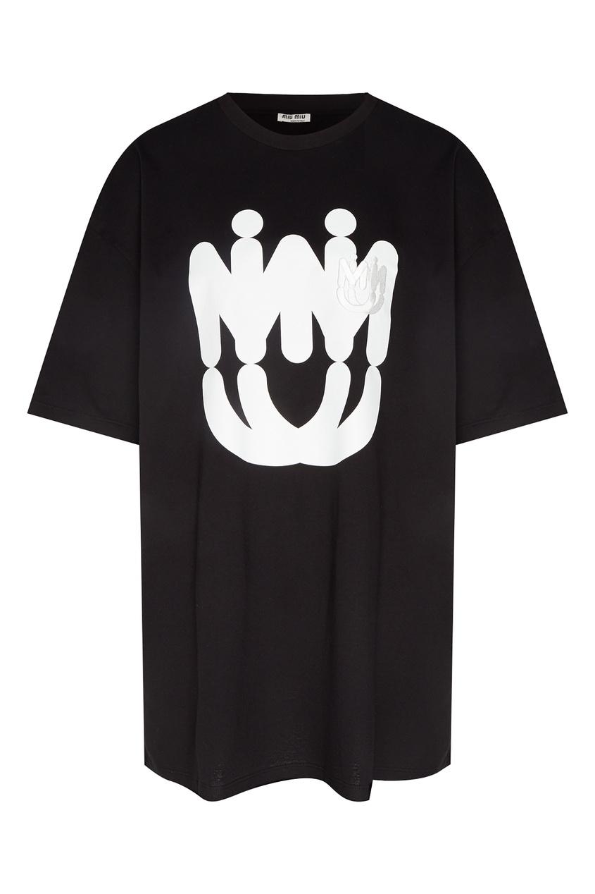 Купить Черная футболка с принтом и вышивкой от Miu Miu черного цвета
