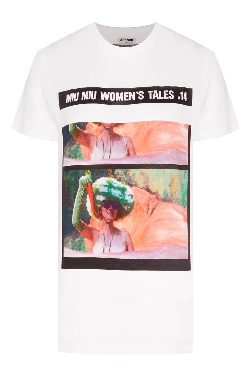 женская футболка miu miu, белая