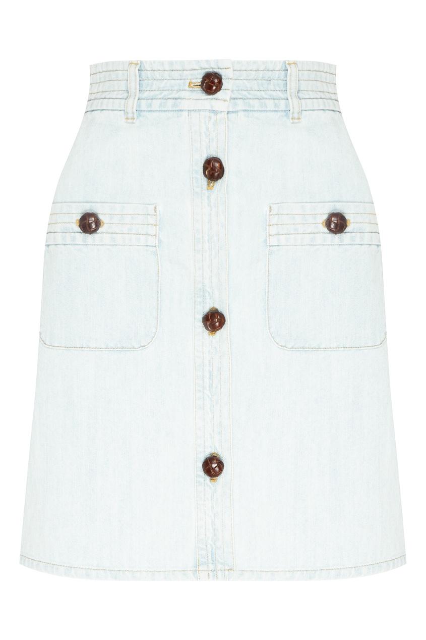 Купить Мини-юбка из выбеленного денима от Miu Miu голубого цвета