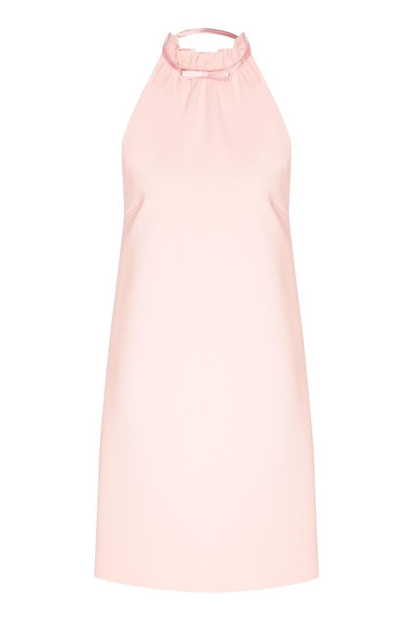 Купить Розовое платье мини с бантом на шее от Miu Miu розового цвета