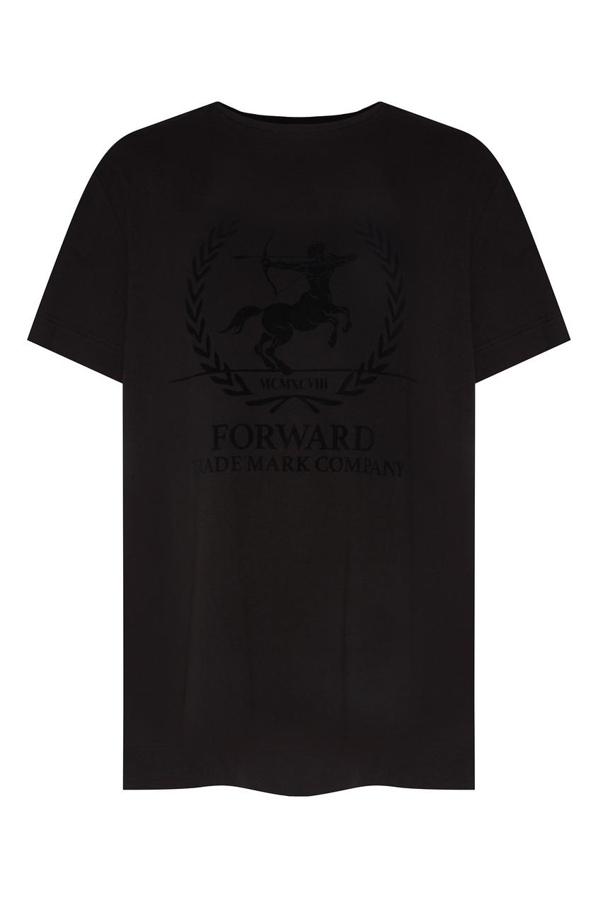 Купить Черная футболка с рисунком от FWDlab черного цвета