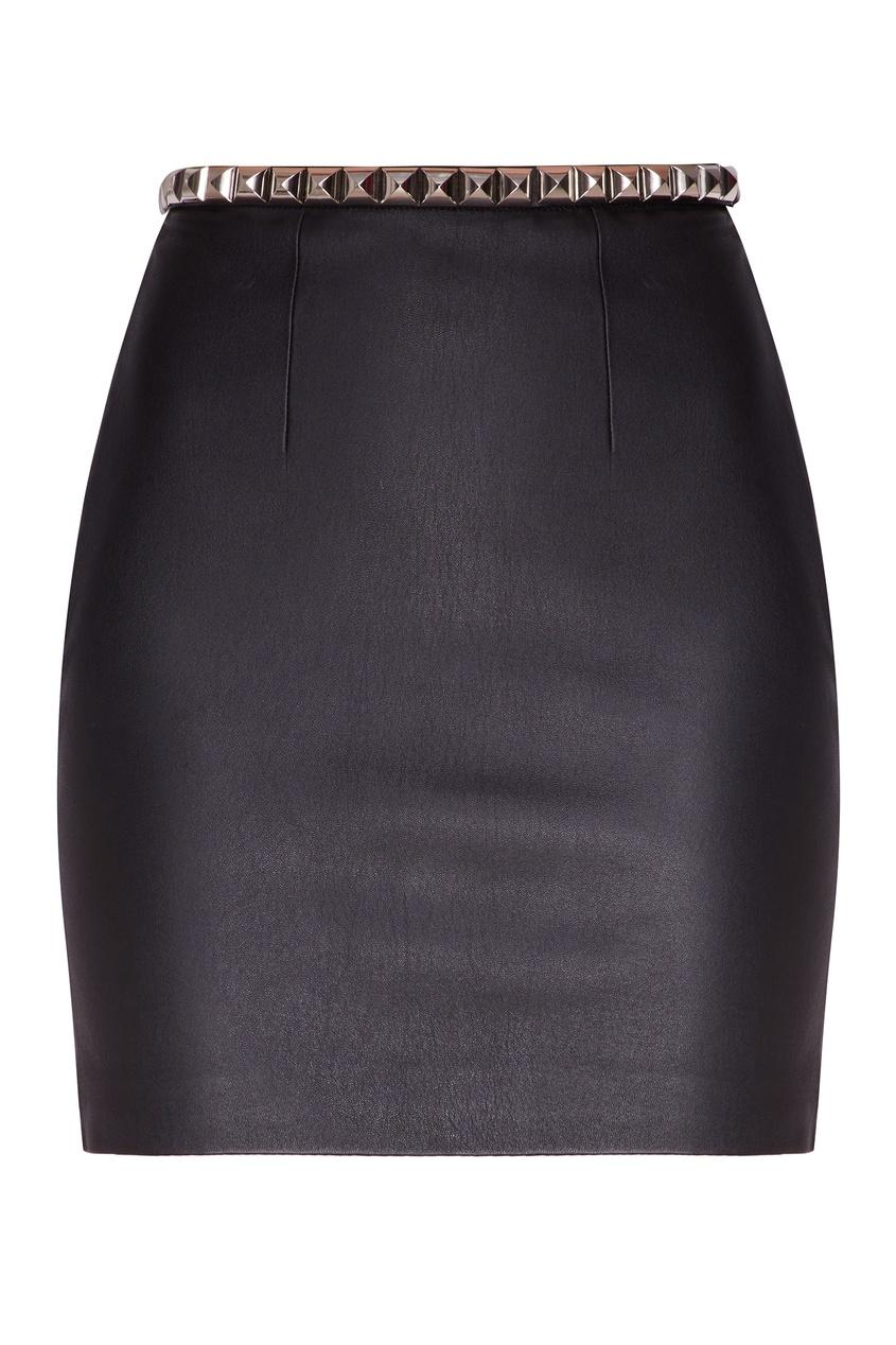 Купить Черная юбка с заклепками от Alexander Wang черного цвета