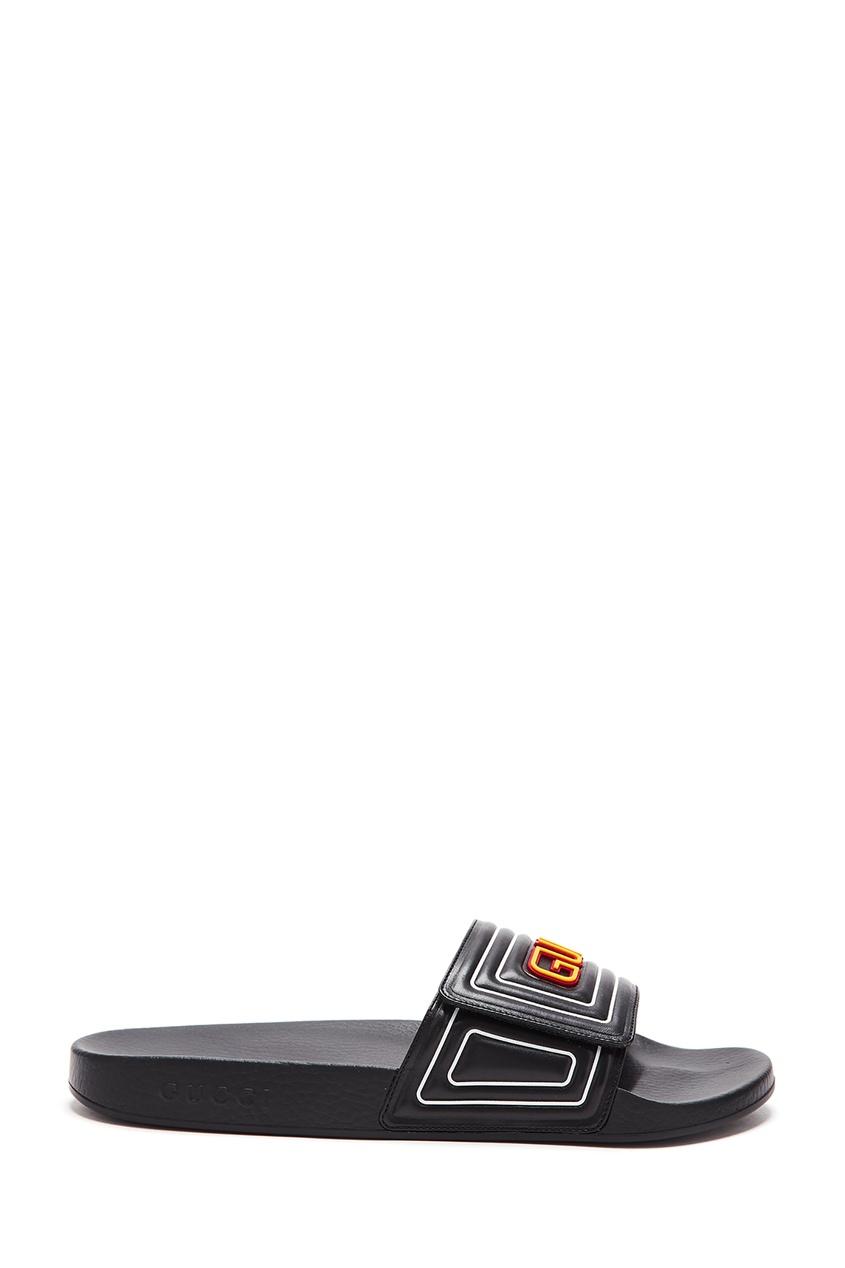 Черные пантолеты с ярким логотипом Gucci Man