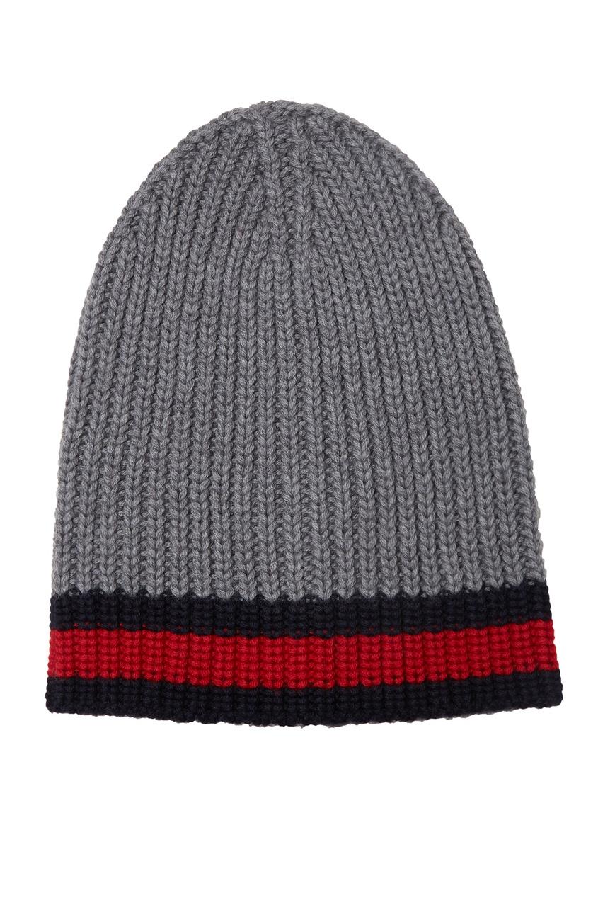 Купить Серая шапка с полосами Web от Gucci Man серого цвета