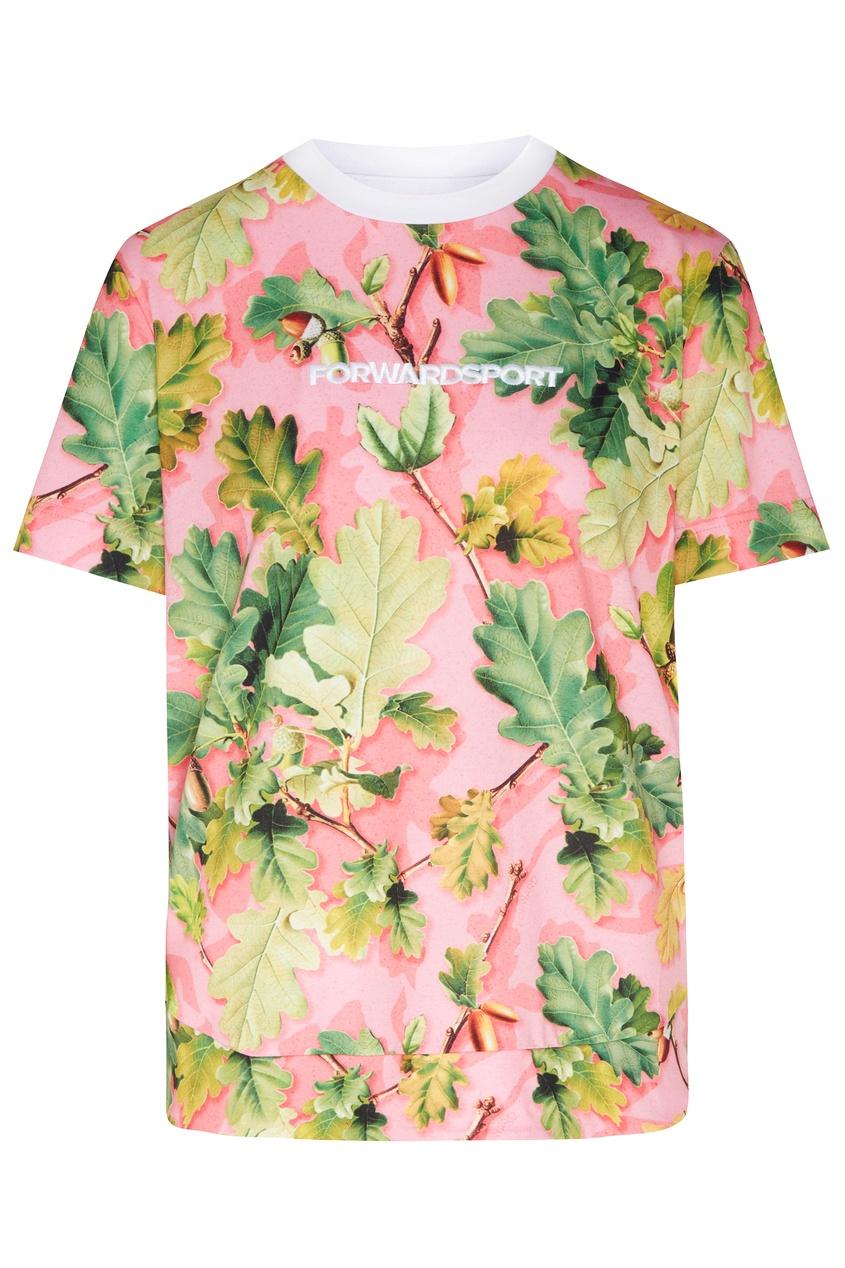 Купить Розовая футболка с растительным принтом от FWDlab розового цвета
