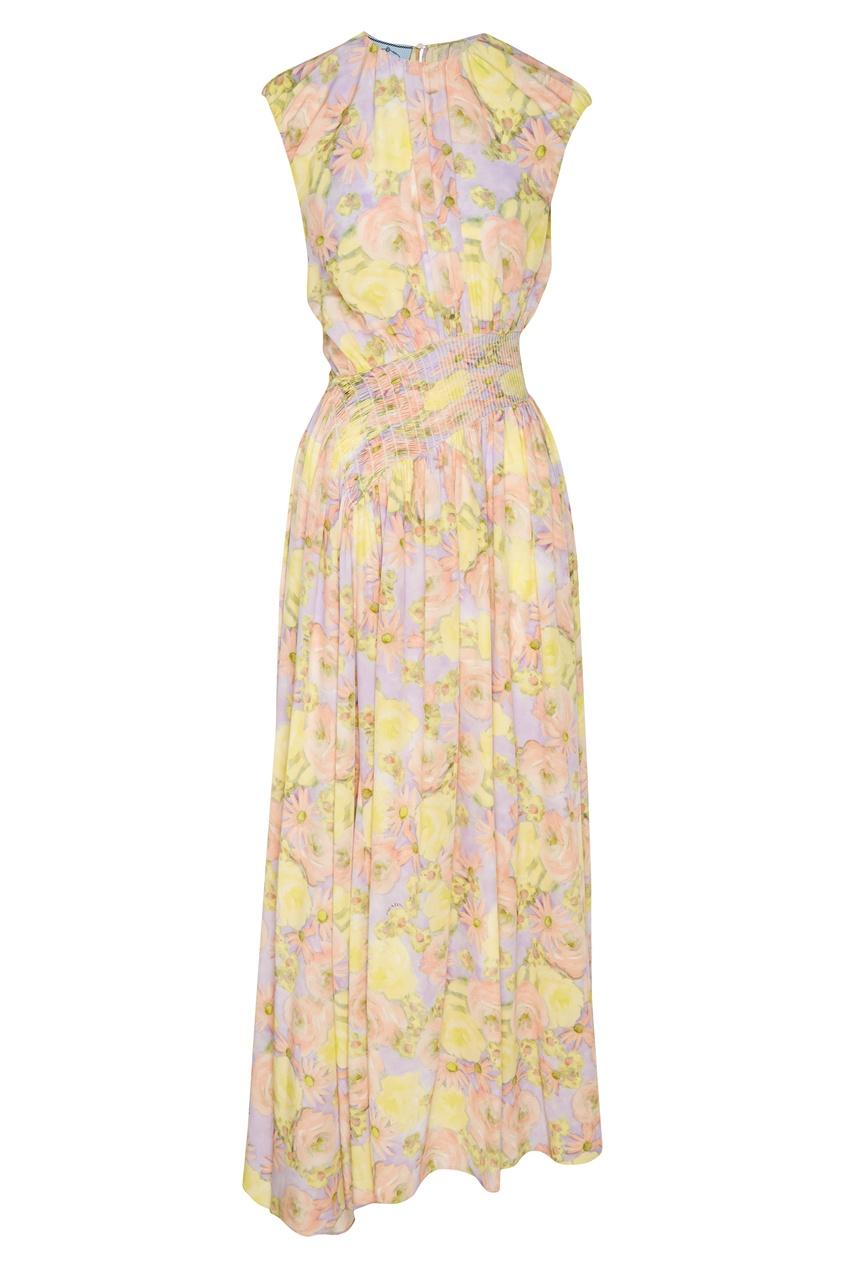 Купить Платье макси с цветочным принтом от Prada цвет multicolor