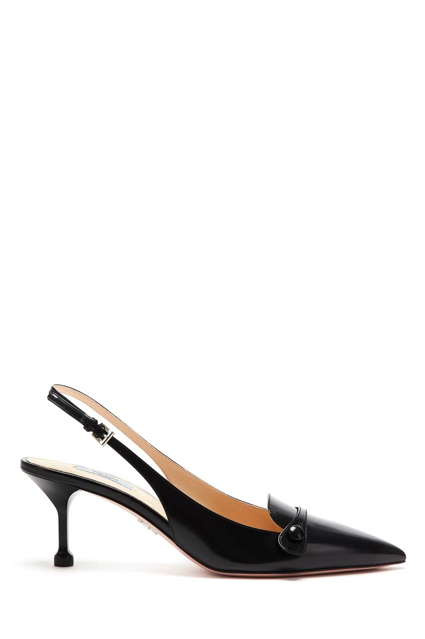 Купить Остроносые слингбэки черного цвета от Prada черного цвета