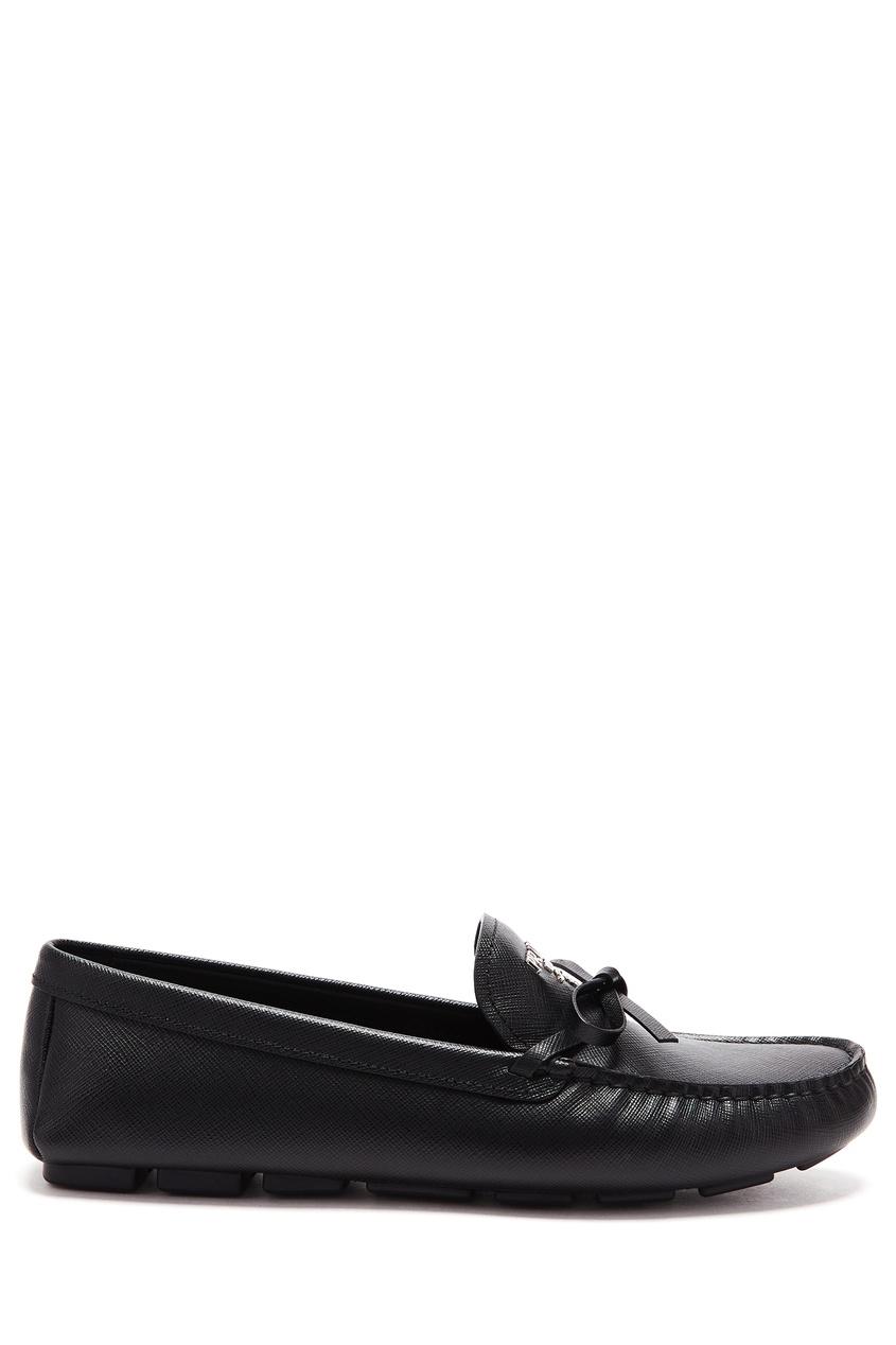 Купить Черные кожаные мокасины от Prada черного цвета